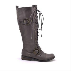 Brown Leather Tall Buckled Combat Boots
